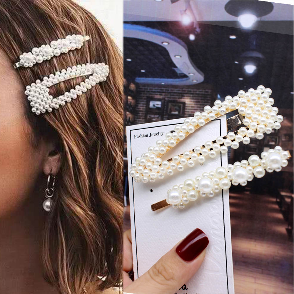 1PCS Ins Fashion Women Girls Elegant Pearls Hair Clips Sweet   Headwear   Hair Ornament Hairpins Barrettes Headband Hair Accessories