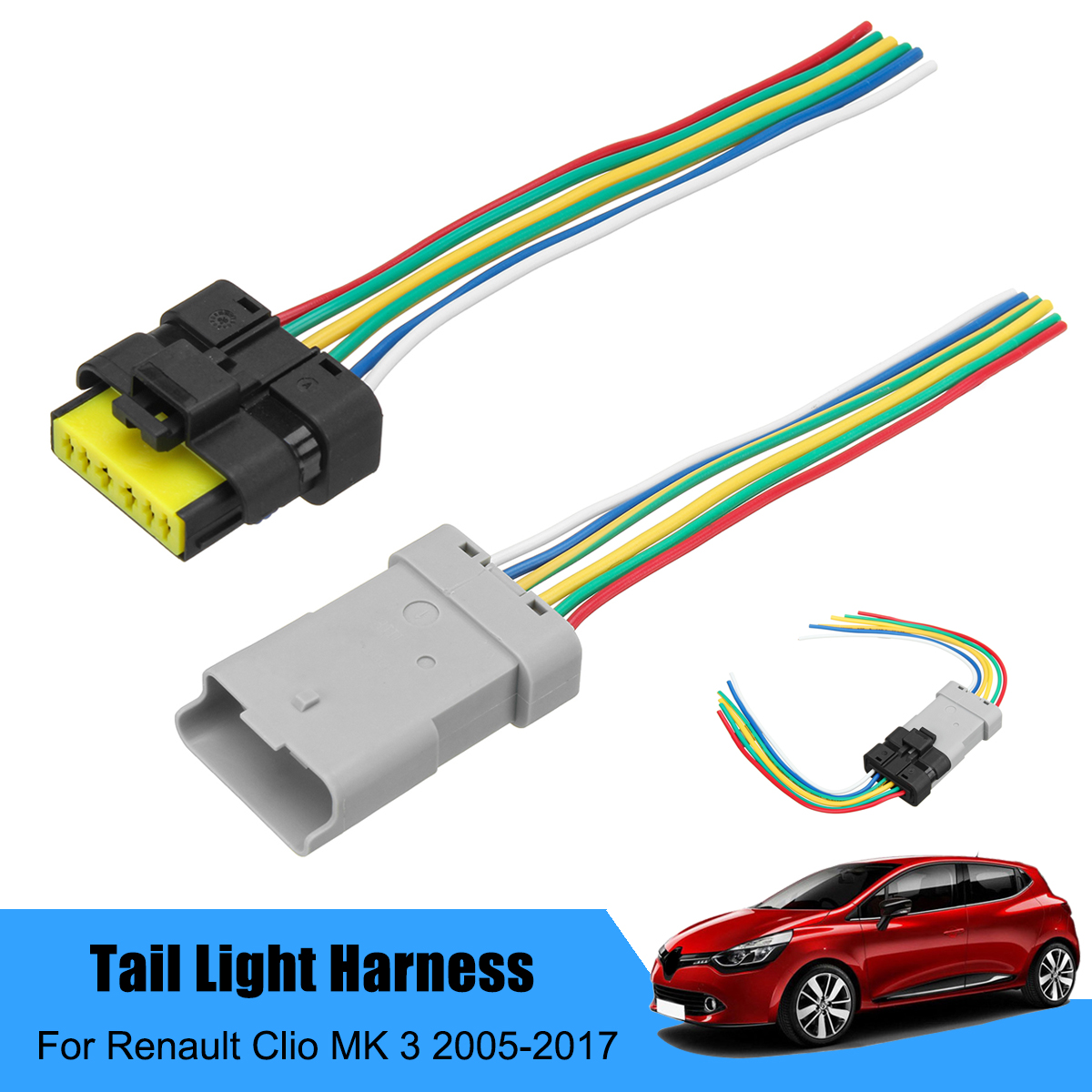 small resolution of car rear tail light loom harness pigtail adapter for renault clio mk 3 2005 2017