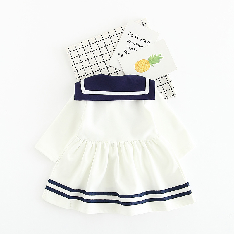 Sweet Navy Style Girls Dress Bownot Drawstring Baby Girls Mini Dress Pleated long Sleeve Children Dress Girls Clothing drop ship