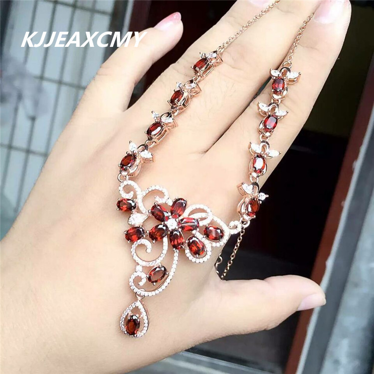 KJJEAXCMY boutique jewelry Natural garnet female Necklace inlaid jewelry wholesale S925 Silver