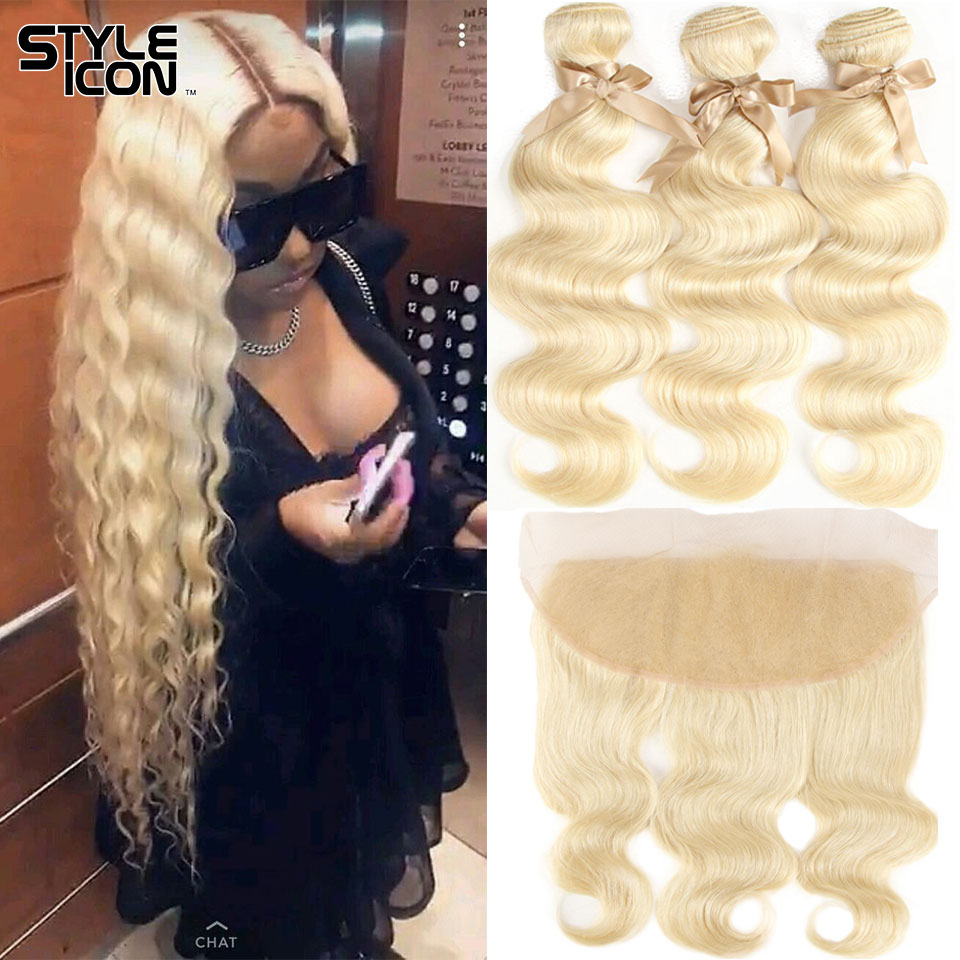 Honey Blonde 613 Hair With Frontal Peruvian Body Wave Hair With Frontal Human Remy Hair Extension With Frontal Closure Styleicon