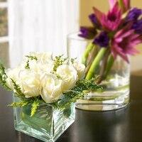 Miz 1 Piece Small Head Artificial Rose Glass Transparent Vase Set for Desk Office Top Quality Flower Set