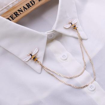 Śliczne Bee Vintage broszki Pins zwierząt Alloy Metal Chain broszka broszki człowiek do koszuli garnituru kołnierz Tassel przypinka damska biżuteria na prezent tanie i dobre opinie Moda Ze stopu cynku TRENDY Unisex i-Remiel Brooch Men women Honeybee