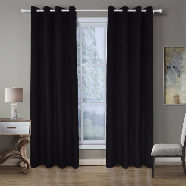 Suede Curtain Drape Luxury For Living Room Window Heavy Curtain ...