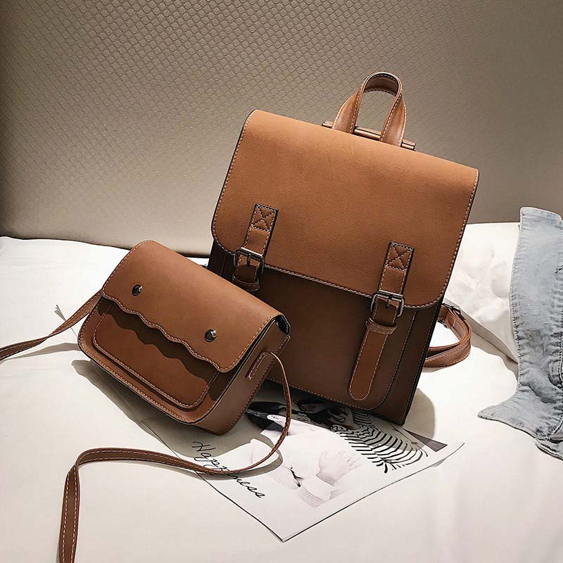 2Pcs/Set Women Backpack Leather Backpacks Girl School Bag Female Backpack Vintage Shoulder Bags Travel Bag XA605WB