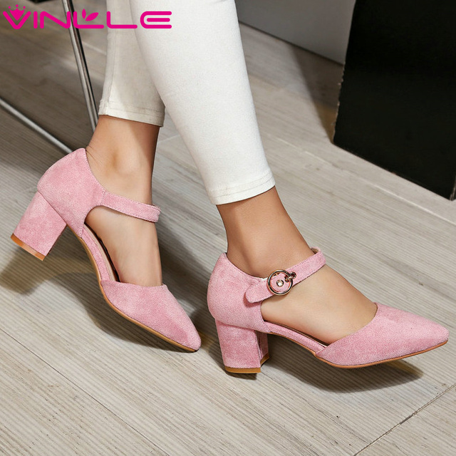 VINLLE 2017 Woman Pumps High Heel Autumn Flock Pink Wedding  Women Shoes Elegant Thick Heel Buckle Strap Miss Shoes Size 34-39