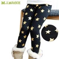 New Arrive Kids Winter Pants Warm Stars Print Fleece Baby Girls Leggings Bronzing Skinny Elastic Waist