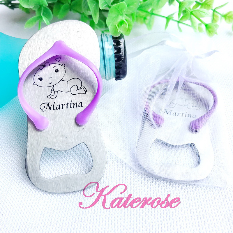 30pcs lot FREE SHIPPING Personalized Baby Party Giveaway Customized LOGO Flip Flop Bottle Opener Baby