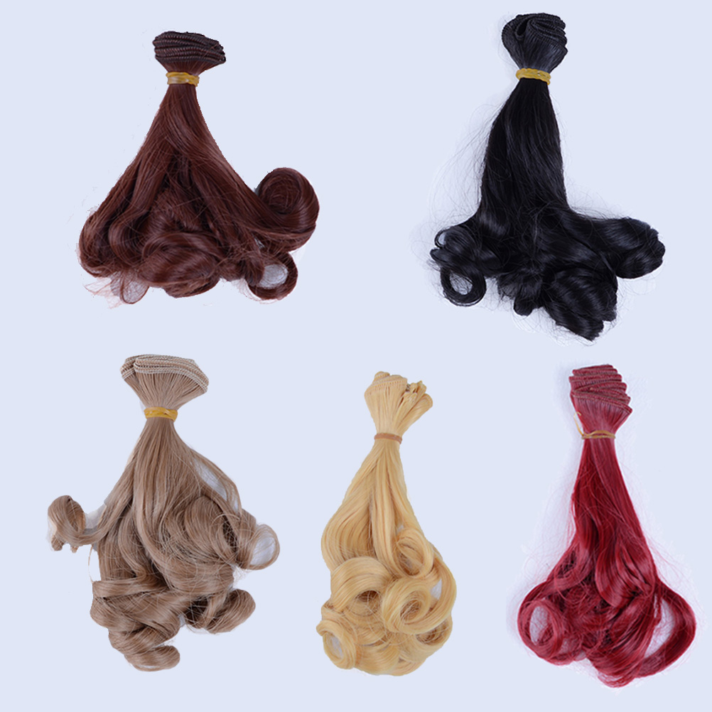 Fashion Synthetic Wavy Curl Curly Hair For Doll Wigs Extensions 1/3 1/4 1/6 BJD 15cm*100cm DIY High-temperature Wire Wig fashion short boutique side bang curly chestnut brown synthetic capless wig for women