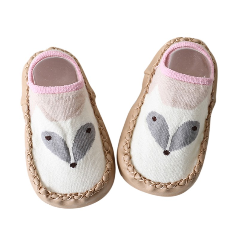 Baby Shoes Newborn Boys Girls Sock Style Anti-Slip Soft PU Leather Cotton Moccasins Cartoon Fox Dog Owl Pattern First Walkers