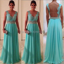 2016 Mint Green A-line Chiffon Long Sexy  Prom Dresses with Sheer Open Back and Cap Sleeves Bridesmaid Dresses