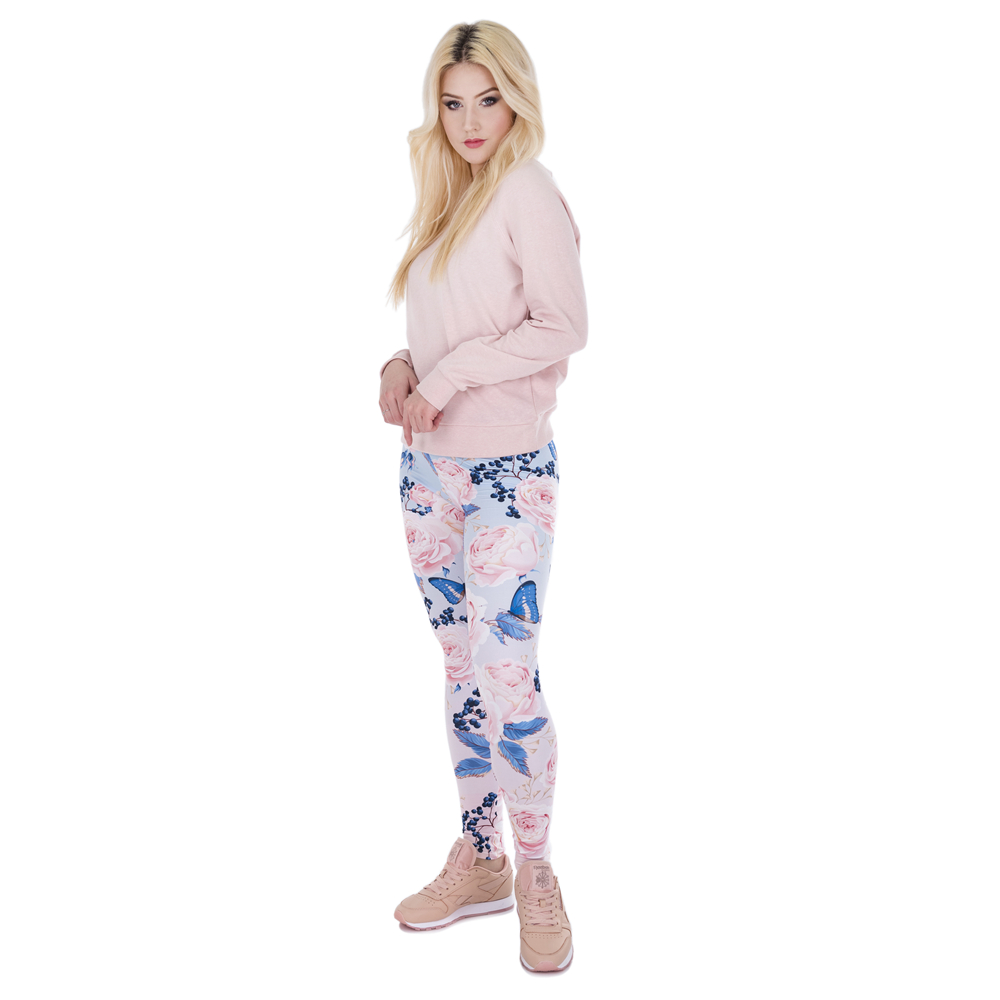 Roses With Butterfly Printing Leggings