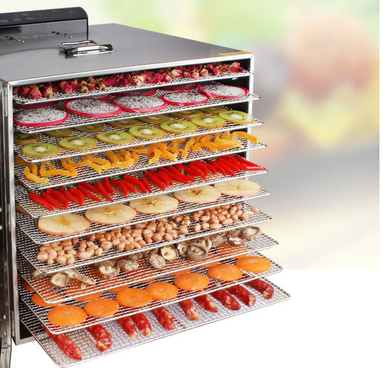 10 Couche Grand Commerciale Capacité Séchoir à Fruits Légumes En Acier Inoxydable Séchage Machine À Base de Plantes Déshydrateurs Alimentaires Sûr Sécheur D'air