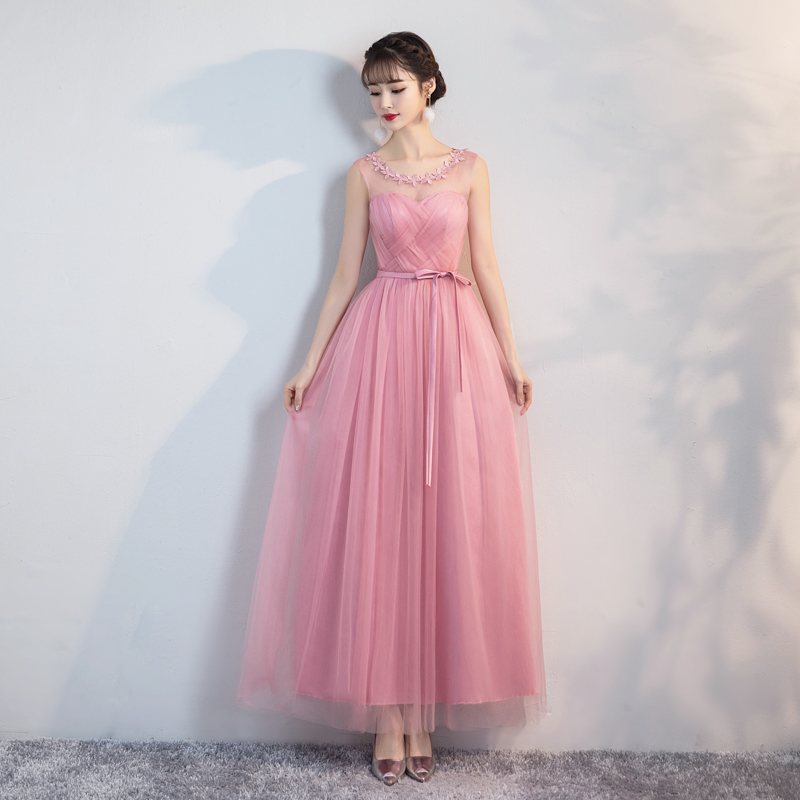 Red Bean Pink Floral Wedding Party Dresses for Women  Bridesmaid