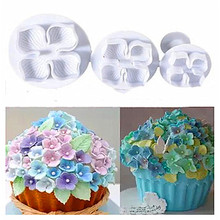 4YANG 3Pcs/set Flower Cake Fondant Cookie Cutter Decorating Craft Paste Plunger Mold Pastry Tools