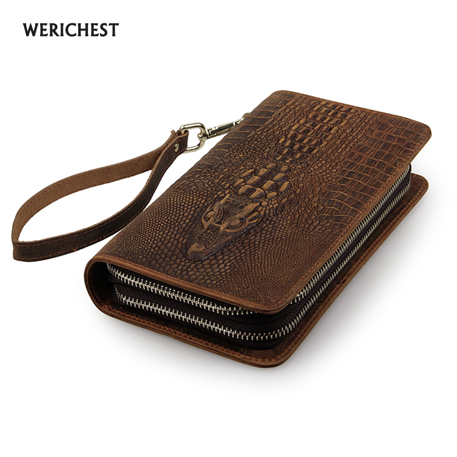 купить Men famous brand genuine leather double zipper clutch wallet male crocodile pattern purses lady Multi-function phone bag purse по цене 2196.32 рублей