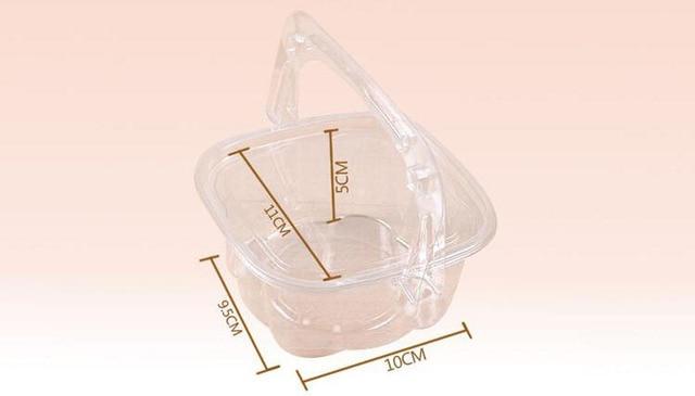 Boîte à crème glacée ZA6126 800 pièces | Tasse à gelée, boîte à gâteaux et fruits, emballage de pâtisserie, étui à fromage, récipient en plastique transparent avec poignée