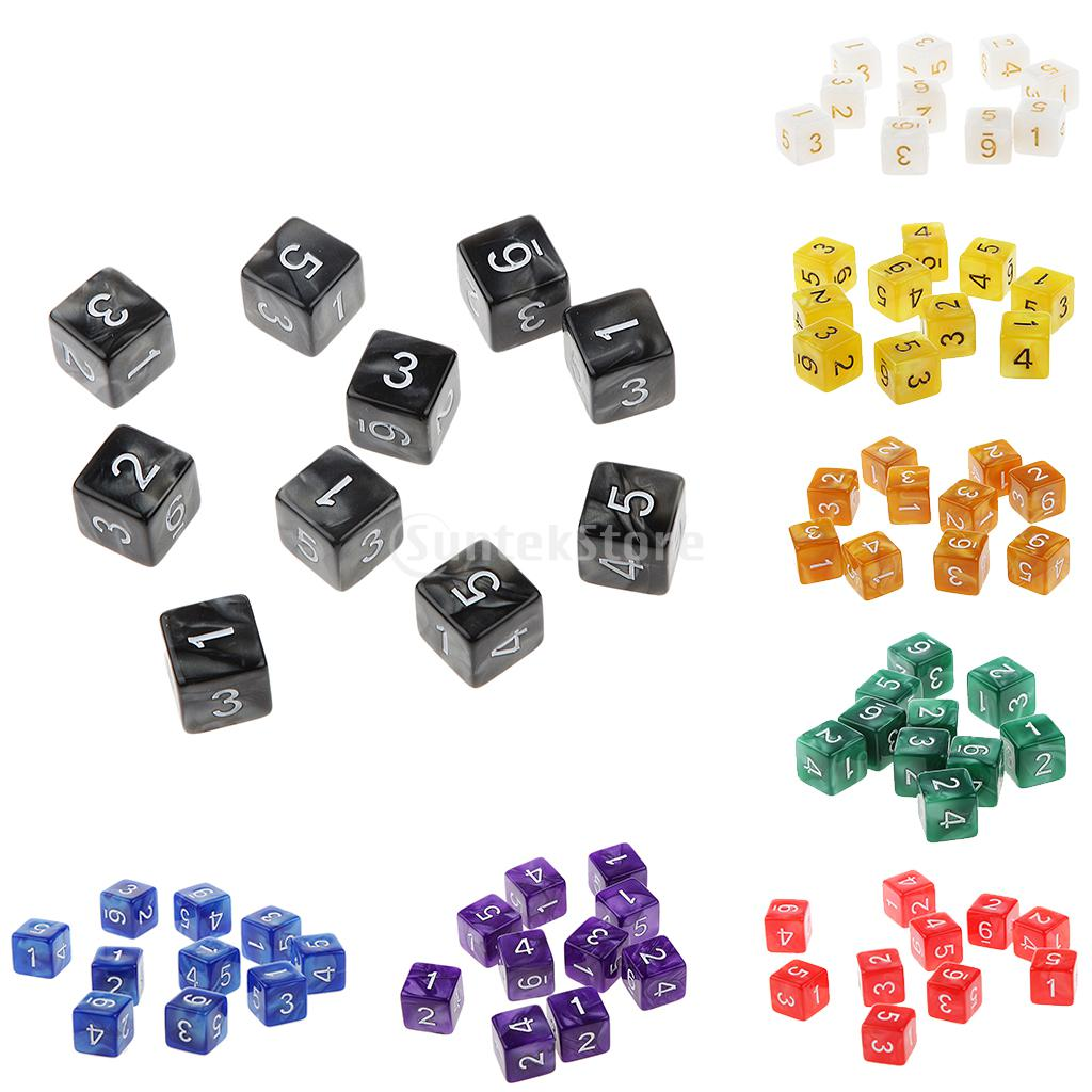 MagiDeal 10pcs Multi-Sided Dice D6 D10 D12 Dice Playing D&D RPG Party Games Dices Digital Game Board Dices