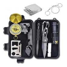 10 In 1 Emergency Survival Gear Professional First Aid Kit Outdoor Camping Hiking Survival Kit Self-help Tools Tactical SOS Box