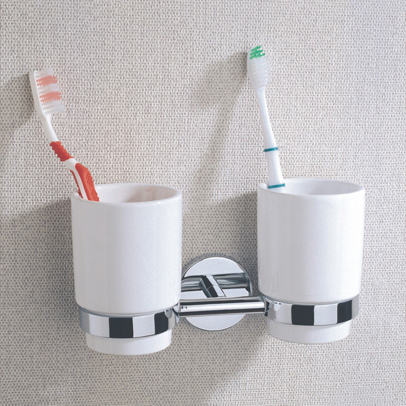 Bathroom Accessory Chrome-plated Brass Double Tumbler Holder Ceramic Cups Tooth Brush Toothpaste Hanging Shelf with Wall Mounted hot truth100pcs lot aaa full assembly touch screen for iphone5s lcd digitizer display home button front camera free shipping