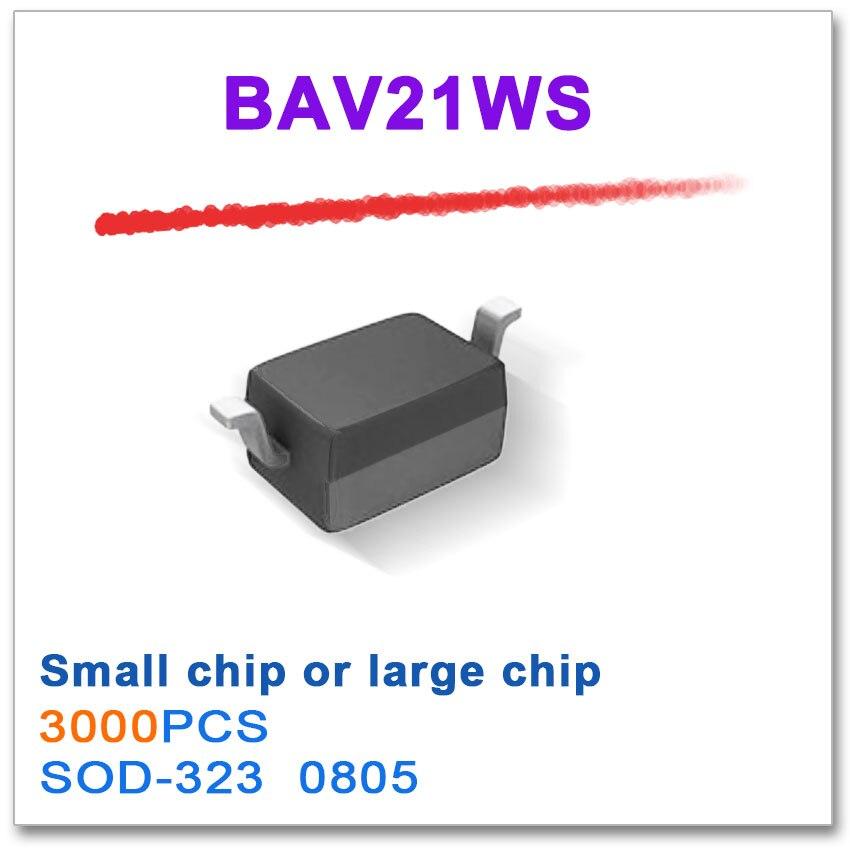 3000PCS BAV21WS 100mA 100V or 250mA 200V New original SOD323 SOD-323 0805 0 2 вт стабилитрон sod 323 bzx384c9v1 9 1 в 100 шт лот