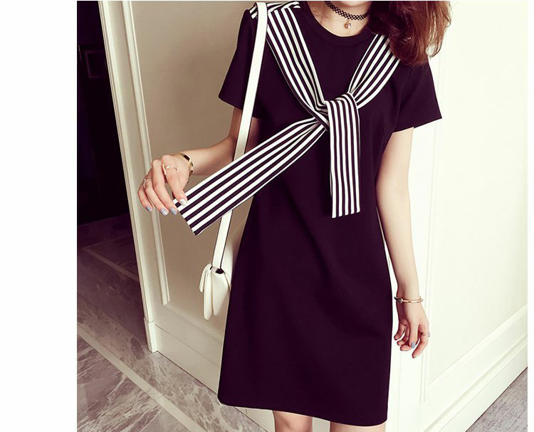 Girls Straight Short Sleeve Preppy Style Knee-length With Strip Scraf Decoration M to XXXL White and Black Color Summer Dresses