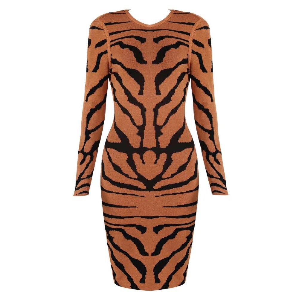虎パターンセクシーなレディースロングスリーブ包帯ドレスラウンドネックジャガードストライプドレスライトブラウン  グループ上の レディース衣服 からの ドレス の中 1