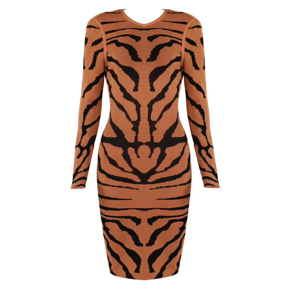 Tiger pattern Sexy Women Long Sleeve Bandage Dress Round Neck Jacquard Striped Dress Light Brown-in Dresses from Women's Clothing    1