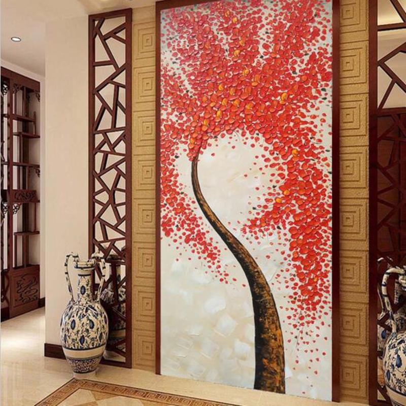 Custom 3D Photo Wallpaper Murals Modern Abstract Art HD Red Tree Wall Paper for Living Room Bedroom Entrance Door Home Decor abstract fashion ceiling murals wallpaper dynamic lines wall paper for kids room living room bedroom ktv hotel 3d ceiling murals