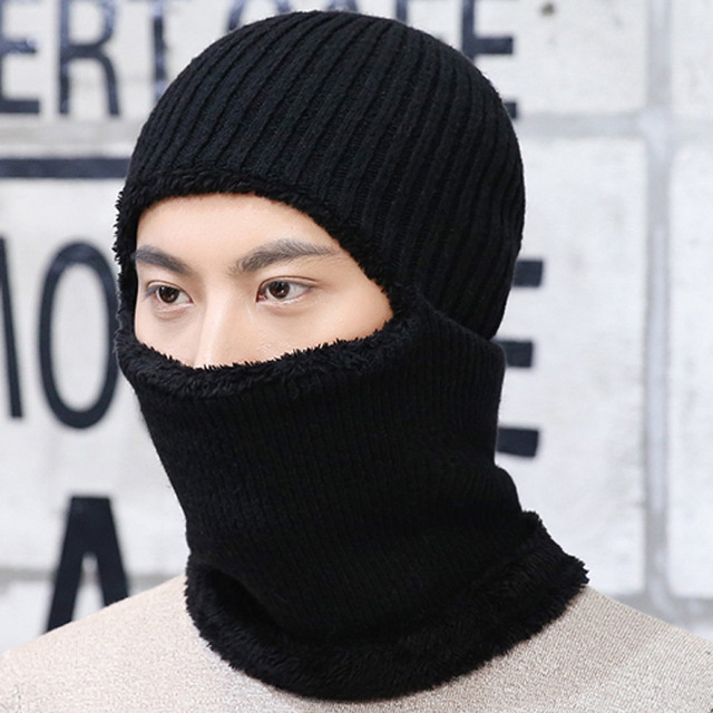 New Hot Sale Man Winter Hats Thickening MaskedMale Outdoor Cycling Warm Earmuffs Turtleneck Cap Solid Knitted Cap