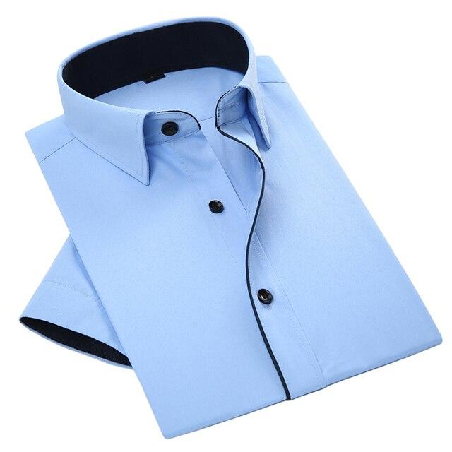 Летний Новый 2017 Мужчины С Коротким Рукавом Рубашки Платья Черные Полосы Сращивание Pure Color Дышащий Лоскутная Мужчины Повседневная Бизнес Рубашка