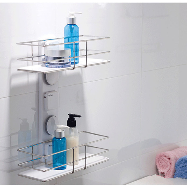 Suction Bathroom Shelf New Unique Plastic And Stainless Steel Double Tier Kitchen Shelves Accessories