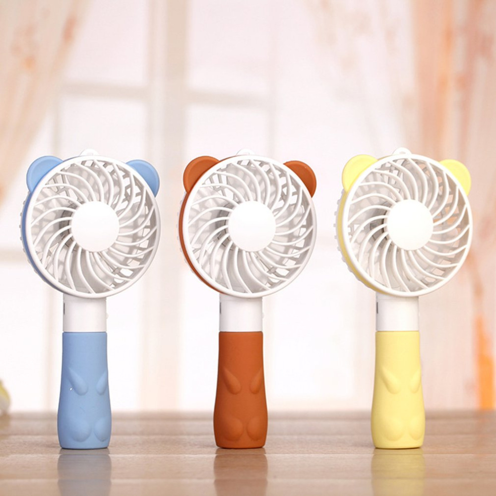 2018 NEW USB Mini Fans Portable Bear Hand Fan Battery Operated USB Power Handheld Mini Fan Cooler with Strap
