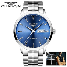 Watch Men GUANQIN Mens Watches Top Brand Luxury Japan Movement Mechanical Watches Stainless Steel Leather Strap Wristwatches купить недорого в Москве