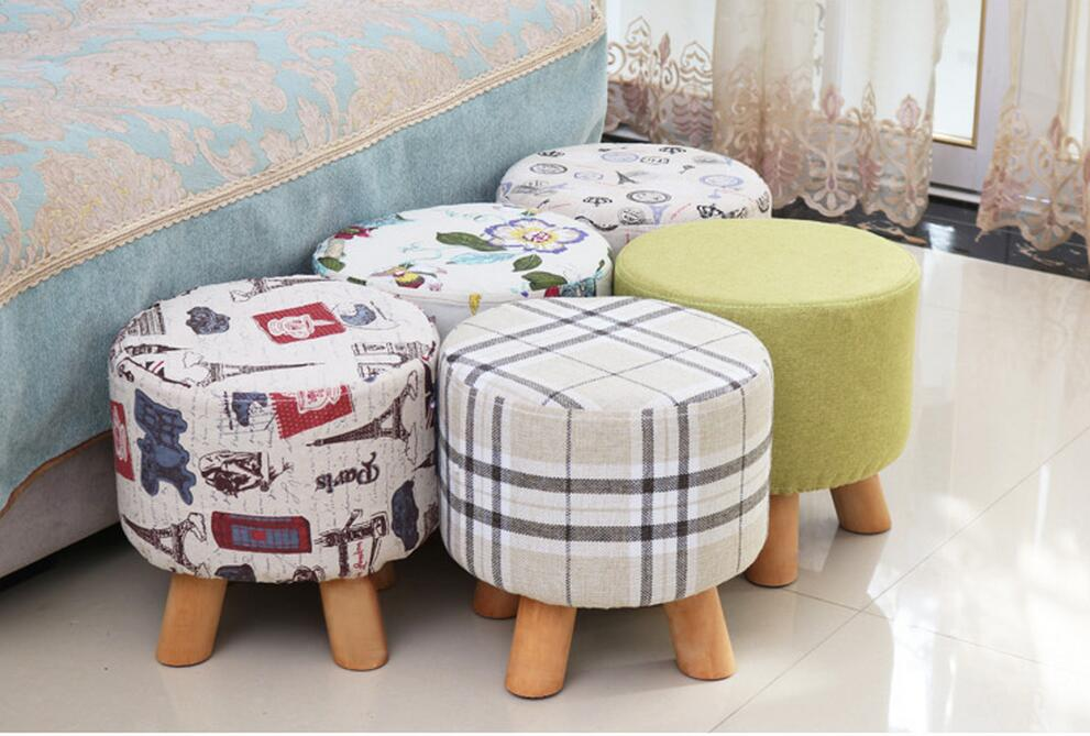Creative stool solid wood fabric sofa coffee table stool home bench fashion wear shoe stool simple stool floral cushion design table stool padded piano chair wood stools rest cosmetics seat sofa bench simple stool home furniture