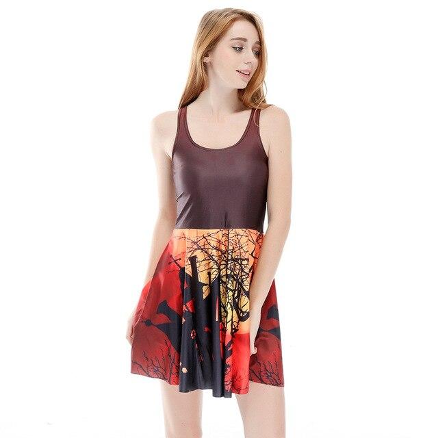 a088d20f80cf8 Drop Shipping Moda Kadın Yaz Tarzı Elbise Orman Dijital Baskı Kolsuz Sıkı  Elbiseler Plaj ELBISE Vestido