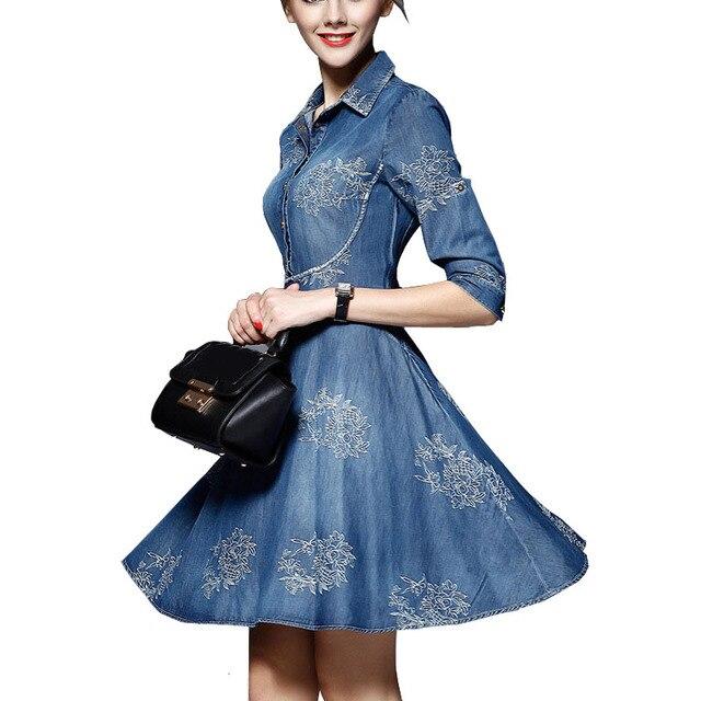 Spring Autumn Women Plus Size Denim Dress Adjustable Sleeves