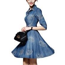 Демисезонный для женщин; большие размеры платье из джинсовой ткани регулируемые рукава вышитые короткие джинсовые Ковбойское Платье 4XL 5XL jurken гроте Maten