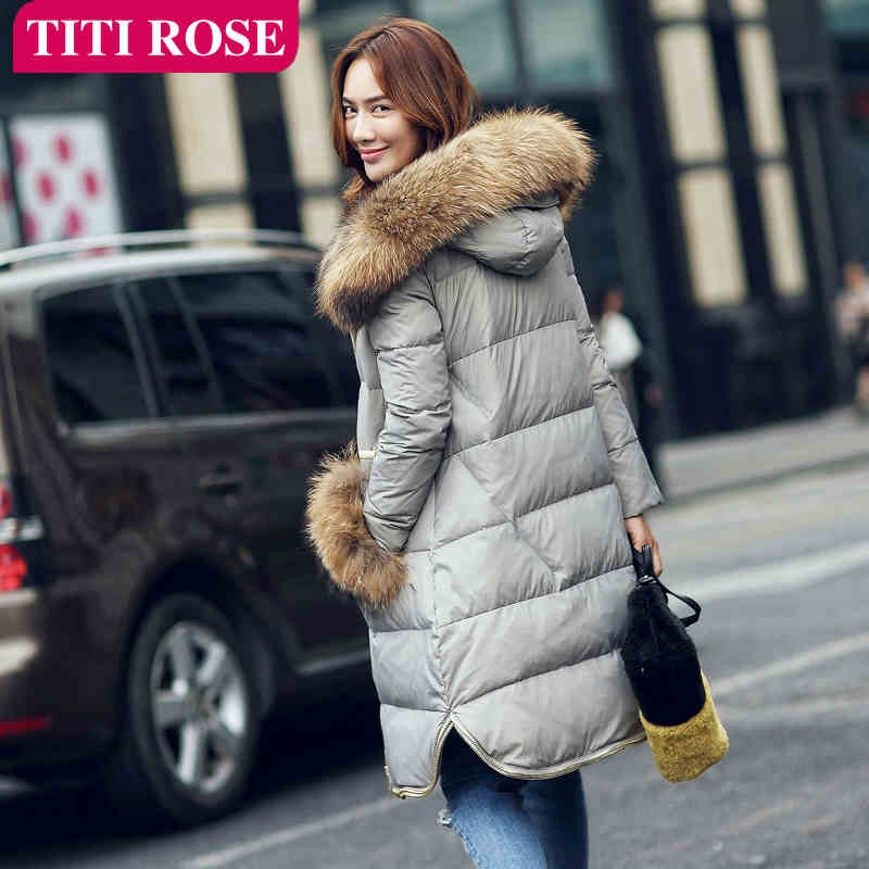 2015 New Hot Winter Thicken Warm Woman Down jacket Coat Parkas Outerwear Hooded Raccoon  Fur collar Long Plus Size XL Luxury 2015 new hot winter thicken warm woman down jacket coat parkas outerwear hooded raccoon fur collar luxury mid long plus size xl