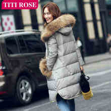 2015 New Hot Winter Thicken Warm Woman Down jacket Coat Parkas Outerwear Hooded Raccoon  Fur collar Long Plus Size XL Luxury