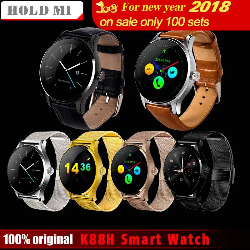 Mantenga mi k88h Smart Watch 1.22 pulgadas IPS pantalla redonda soporte ritmo cardíaco Monitores Bluetooth smartwatch para ios android