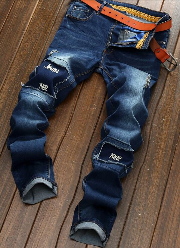 ФОТО 2017 Hot Sale Top Softener Mid Spring Men's Jeans Patch Male Thin Summer Stretch Feet Hole Beggar Pants Tide Brand Personality