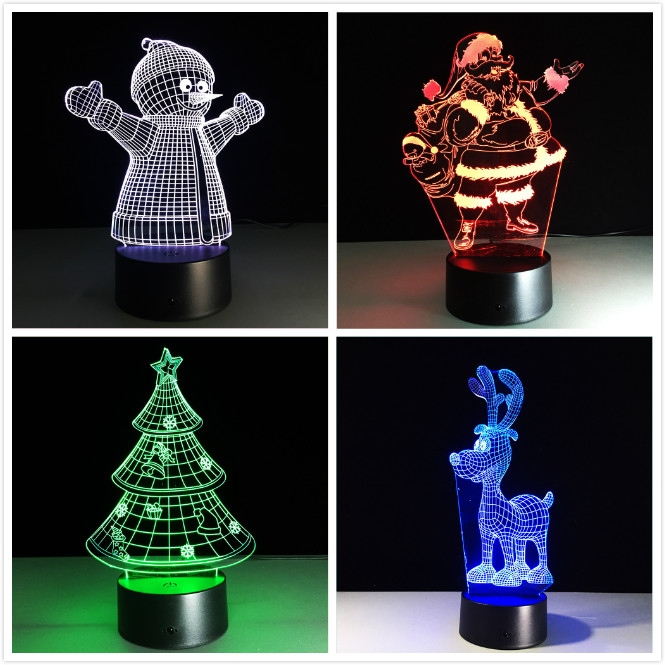Acrylic 7 Colors Changing LED USB 3D Table Lamp Novelty Gifts Christmas Tree Snowman Santa Clause Xmas Deer for Home Decorations title=