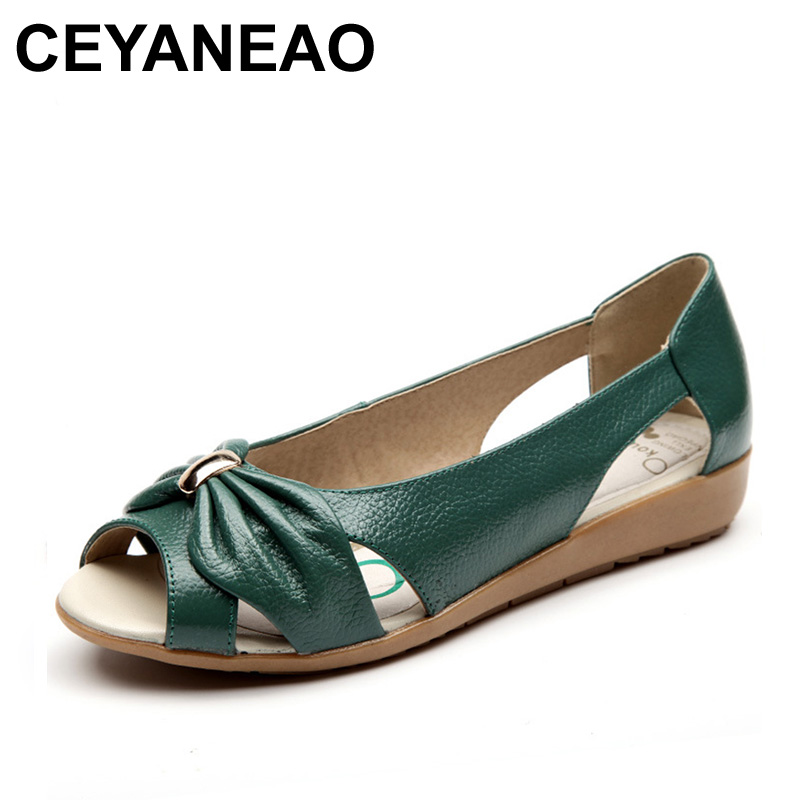 CEYANEAO  Women Genuine Leather Flats Open Toe Casual Female Shoes Breathable Summer Sandals Shoes Women Hollow Out Flats Shoes(China)