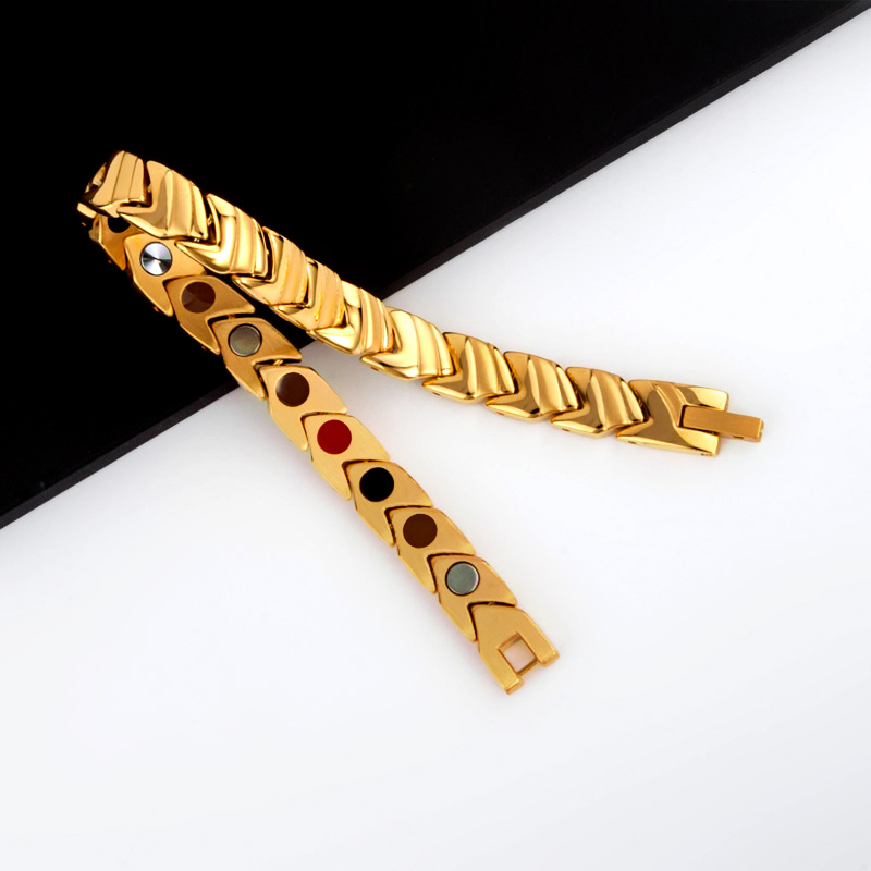 Bracelet de thérapie magnétique de bracelets porte-bonheur magnétique d'acier inoxydable de bijoux de mode des hommes 38 élégants - 3