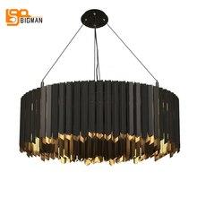 Aço inoxidável lustre moderno led luz suspensão luminare sala de jantar lâmpada