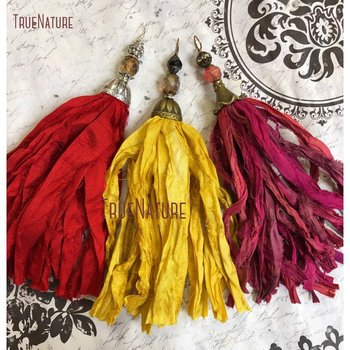 Latest Antique Brass Altered Art Cap Yellow Handcrafted Sari Silk Tassel Butterscotch Silk Tassel Necklace Pendant  PM14458