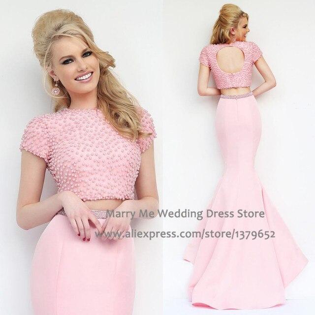 Nueva moda Pink dos piezas de baile Vestidos de noche de la sirena ...