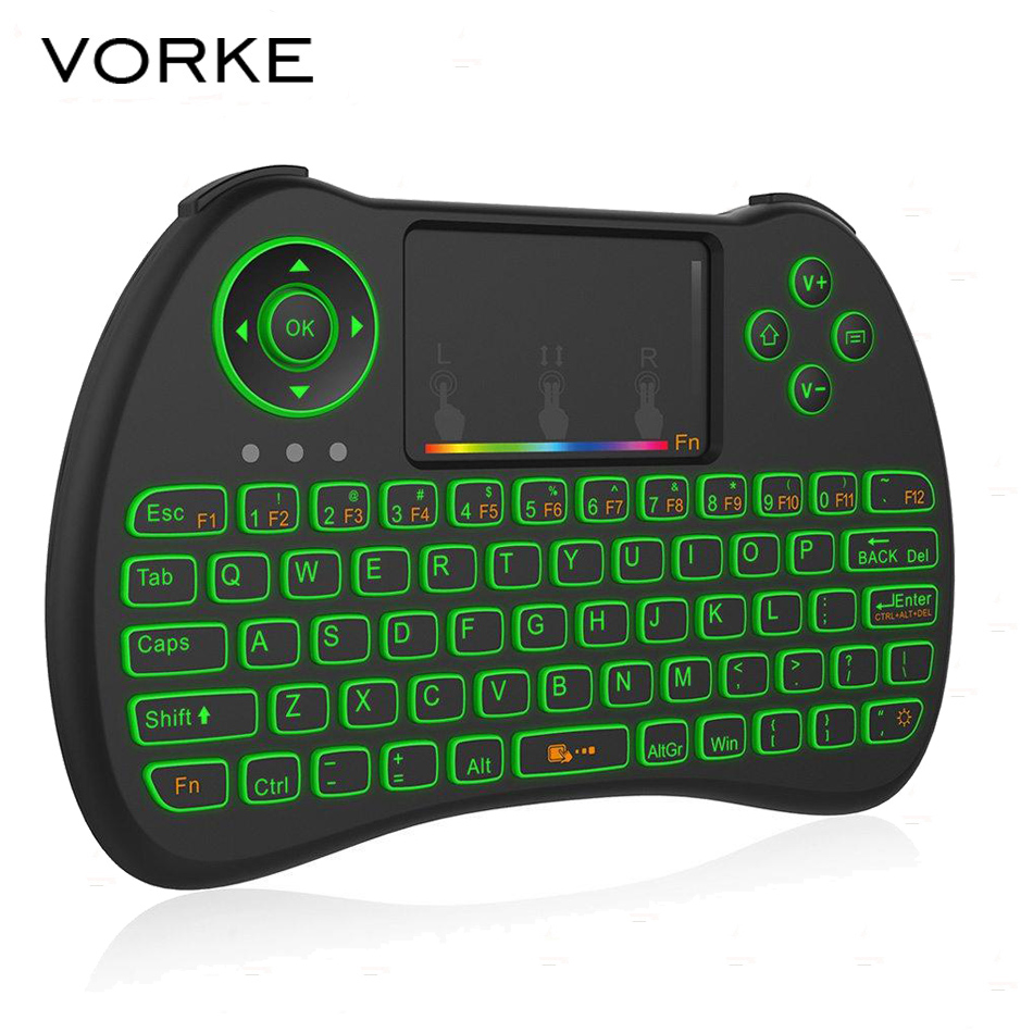 Vorke H9 180000-Colour Backlit 2.4G Mini Wireless Keyboard Air Mouse Combo with Touchpad Brightness for TV Box PS3 Xbox 360 hunday getz за 180000 рублей