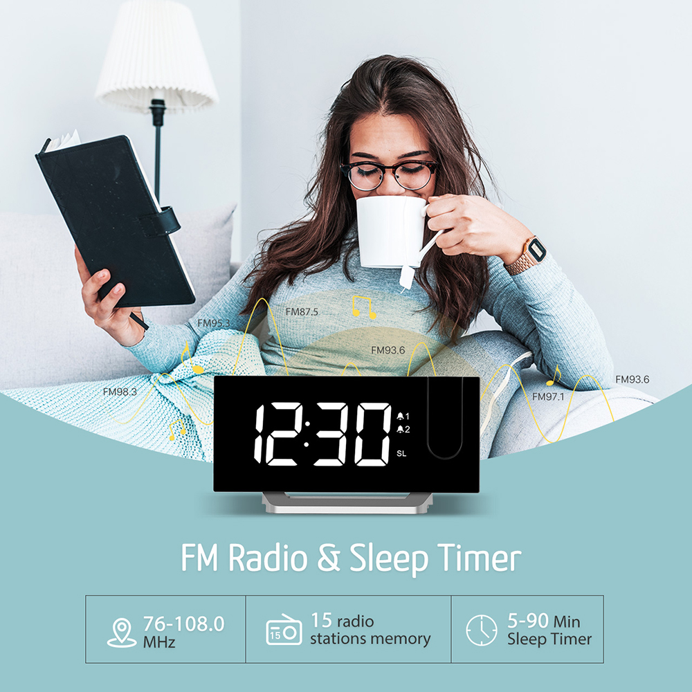 Image 5 - Mpow HM353 FM Radio Projection Alarm Clock With Dual Alarms Snooze Function With USB Charging Port 5'' Large Display Sleep Timer-in Alarm Clocks from Home & Garden